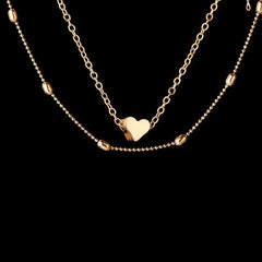 LOVE HEART DOUBLE LAYERED PENDANT NECKLACE Gold GNTLMEN Australia GNTLMEN-JOSHBRNJAC
