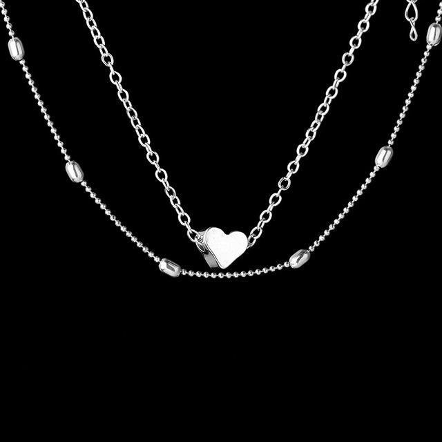 LOVE HEART DOUBLE LAYERED PENDANT NECKLACE Silver GNTLMEN Australia GNTLMEN-JOSHBRNJAC