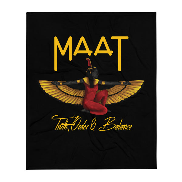 Maat (Black) Throw Blanket  50x60