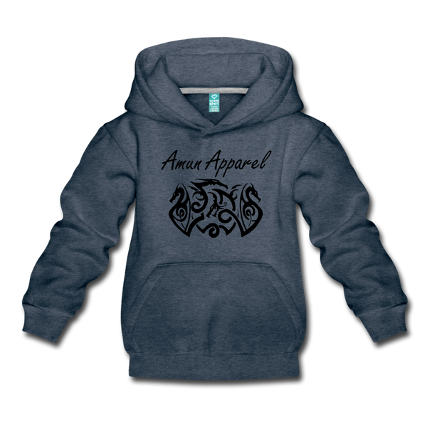 Children's Tribal Dragon Hoodie - heather denim