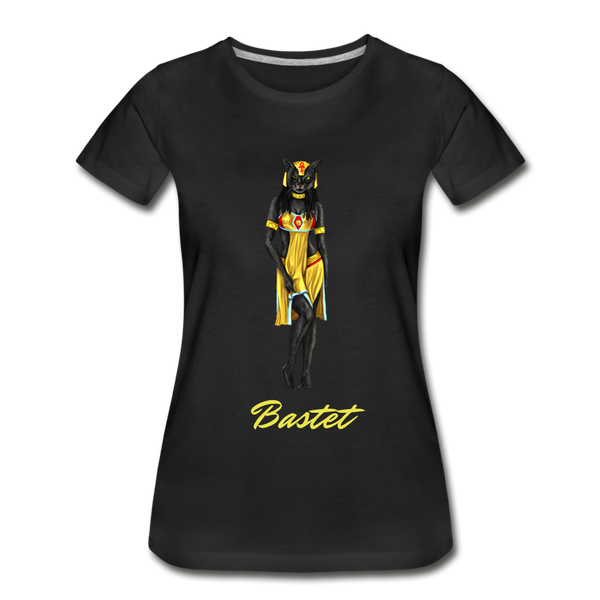 Women's Bastet Cat Goddess Premium Organic T-Shirt - black