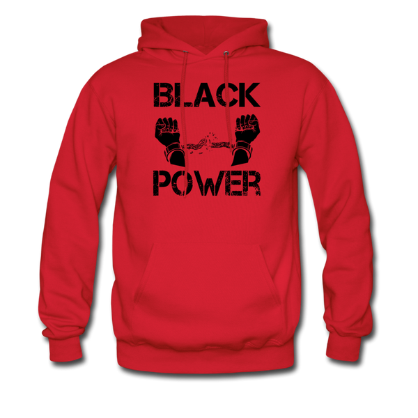 Men's Black Power Hoodie - red