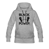 Women's Black Power Hoodie - heather gray