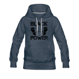 Women's Black Power Hoodie - heather denim