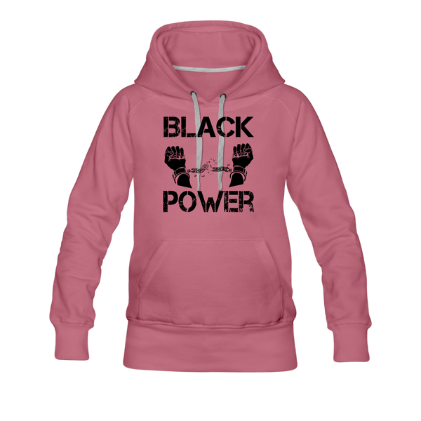 Women's Black Power Hoodie - mauve