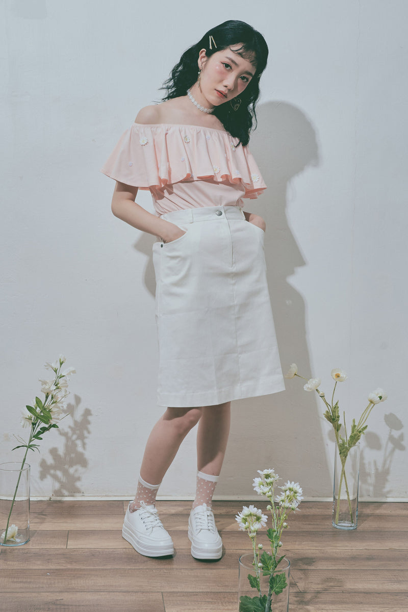 Daisy Embroidery Ruffle Top in Nude Pink - Ams Avenue