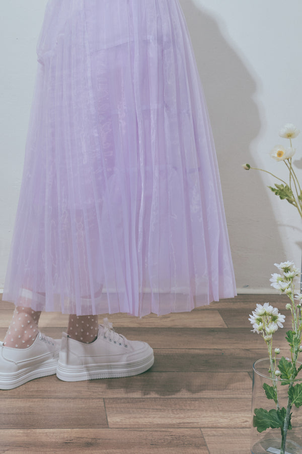 Pleated Double-Layered Mesh Midi Skirt in Pale Lavender