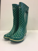 Jilean Green Spotted Wellies Ladies