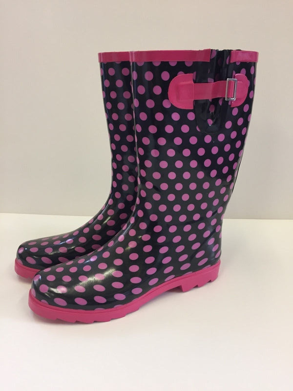 Ladies Pink Spotty Wellies