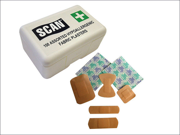 SCAN Hypoallergenic Fabric Plasters 100 Assorted SCAFAPLAFAB