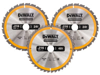 DEWALT  Construction Circular Saw Blade 3 Pack 216 x 30mm 2 x 24T 1 x 40T DEWDT1962QZ