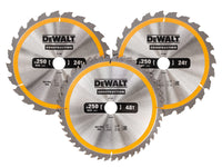 DEWALT Construction Circular Saw Blade 3 Pack 250 x 30mm x 24T/48T DEWDT1963QZ DT1963