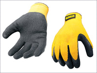DEWALT Yellow Knit Back Latex Gloves - Large DEWGRIPPER