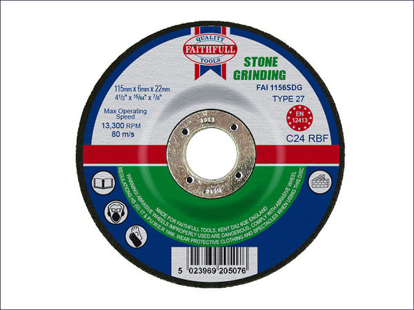 Faithfull Depressed Centre Stone Grinding Disc 115 x 6 x 22mm FAI1156SDG