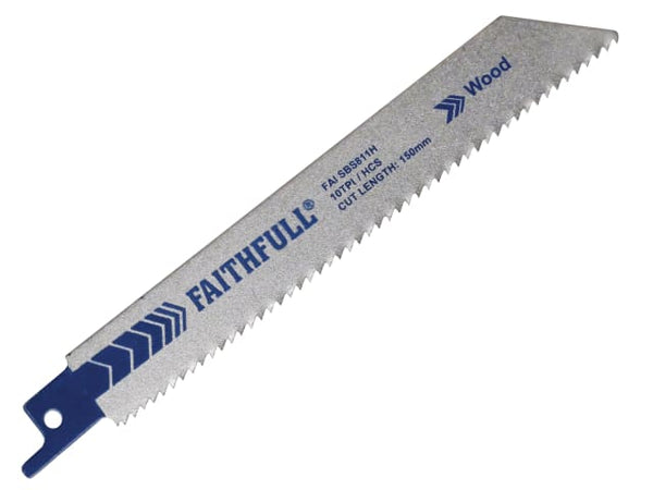 FAITHFULL FAISBS811H Sabre Saw Blade Wood S811H (Pack of 5)