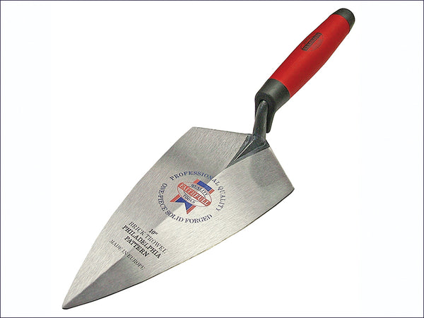 Faithfull Philadelphia Pattern Solid Forged Brick Trowel Soft-Grip Handle 10in FAISGBTFP10