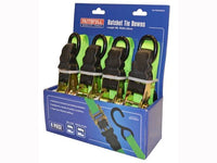 FAITHFULL FAITDRATSET4 Ratchet Tie-Downs 5m x 25mm Green 4 Piece