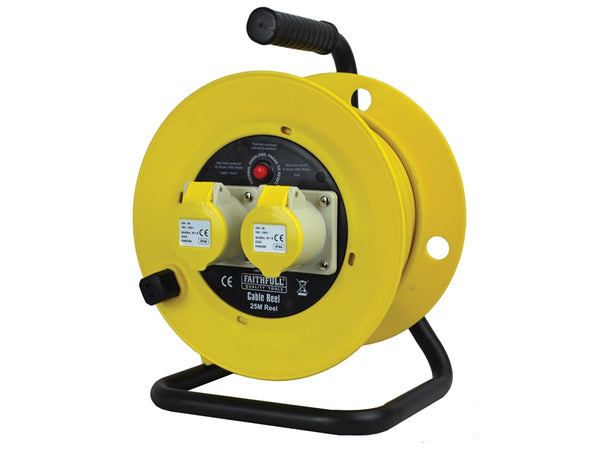 FAITHFULL Cable Reel 25m 16 amp 1.5mm Cable 110V FPPCR25ML