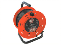 FAITHFULL Open Drum Cable Reel 240 Volt 50 Metre 13 Amp 2 Socket FPPCR50M