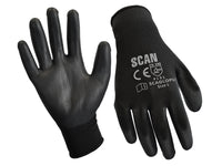 SCAN Black PU Coated Gloves Size 9 (L) (Pack of 12) SCAGLOPU12