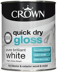 CROWN Quick Dry Gloss 750ml Pure Brilliant White