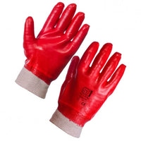 RED PVC Glove Knitted Wrist