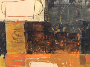 Day-abstract painting in oil and cold wax-bright colors-detail