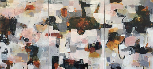 Linda Coppens-abstract painting-poetry of life-triptych-warm colors