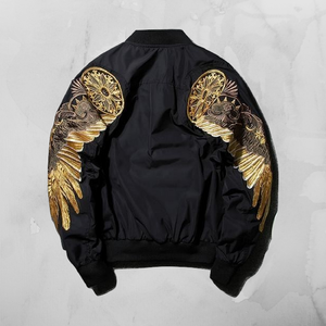 Hyweacvar Gold Embroidery Bomber Jacket - Black/Gold