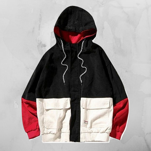 MCCKLE Block Patchwork Jacket - Red/NavyWhite