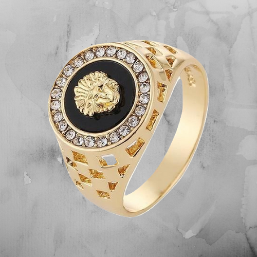 Mens Crystal Lion Ring - Gold/Silver