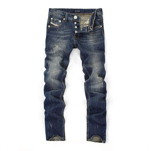 Straight Fit Dark Blue Distressed Jeans