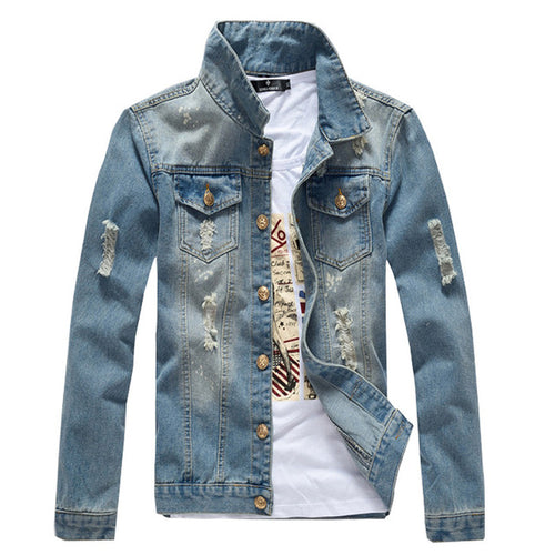 Mens Washed Distressed Denim Jacket