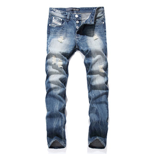 Slim Fit Light Blue Ripped Jeans