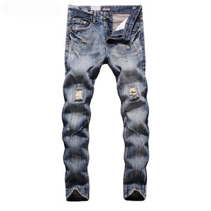 Slim Fit Blue/Gray Ripped Jeans