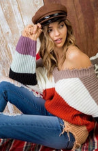 Laurie Color Block Frayed Sweater