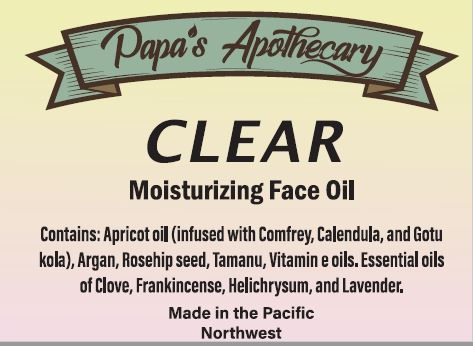 CLEAR - Our new acne fighting face oil blend - With TAMANU and HELICHRYSUM!!