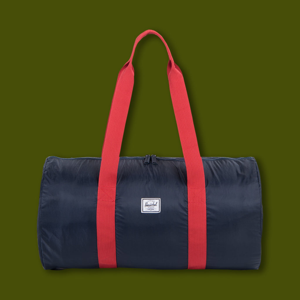 Packable Duffle - Navy & Red