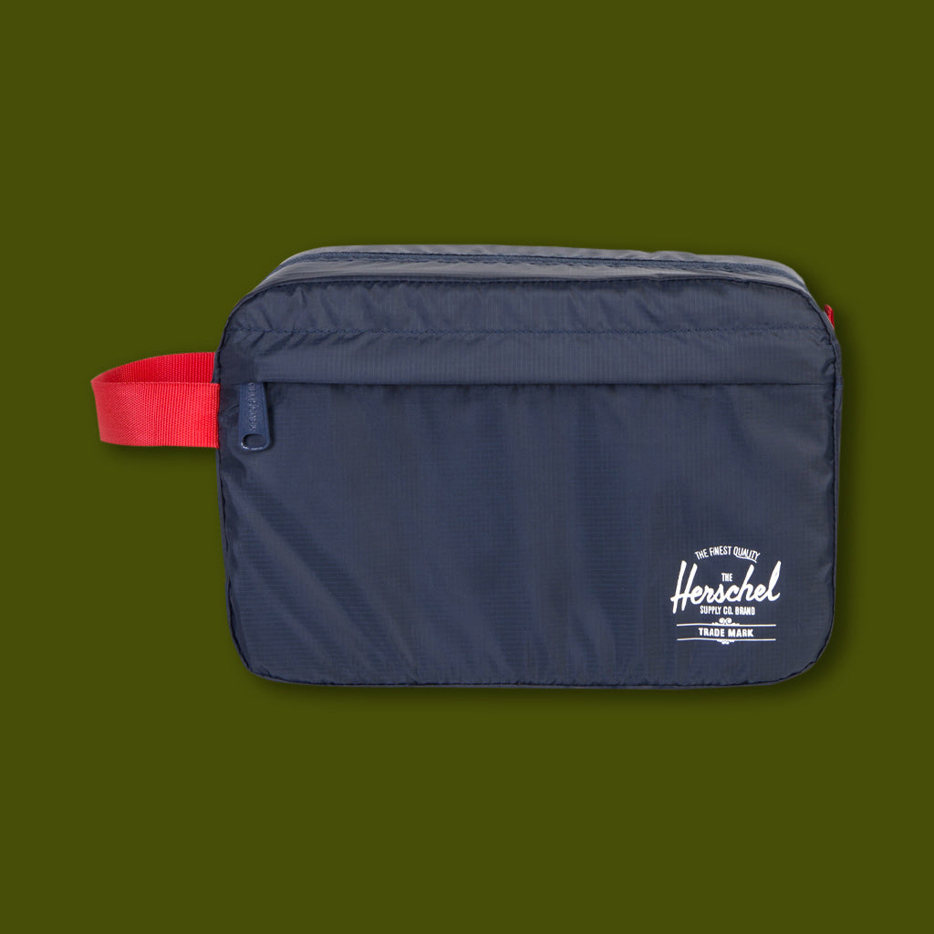 Toiletry Bag - Navy & Red