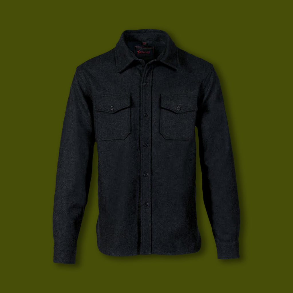 Schott Wool CPO Shirt - Black