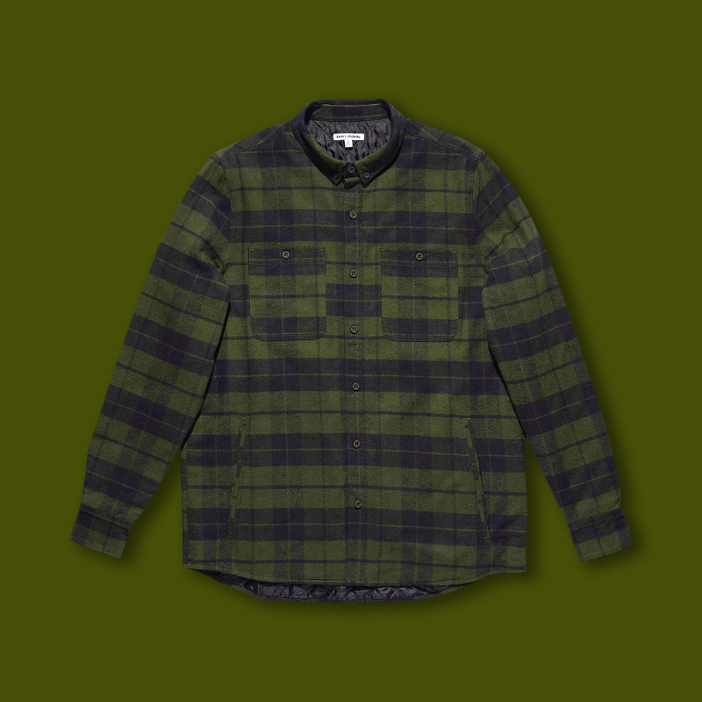 Momentum Long Sleeve Shirt - Olive Plaid