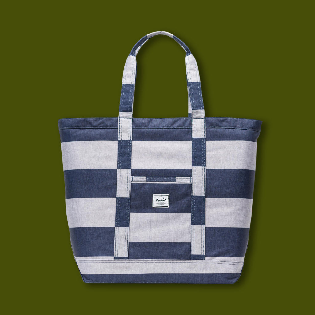 Bamfield Tote Mid - Blue & White Stripe