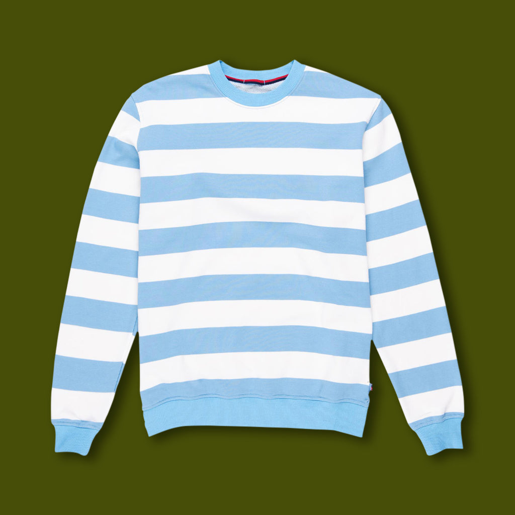 Crewneck Sweatshirt - Light Blue & White Stripe