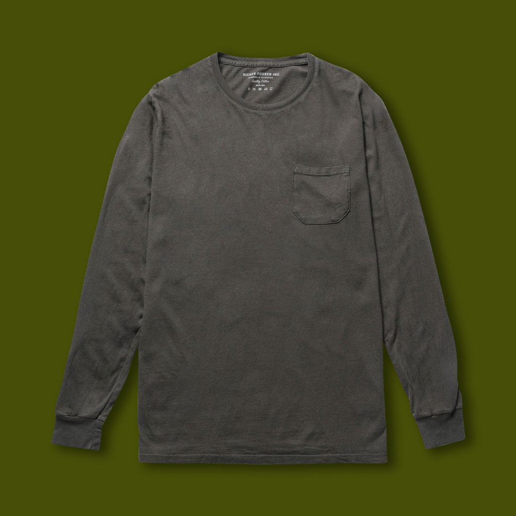 Long Sleeve Pocket Tee - Grey
