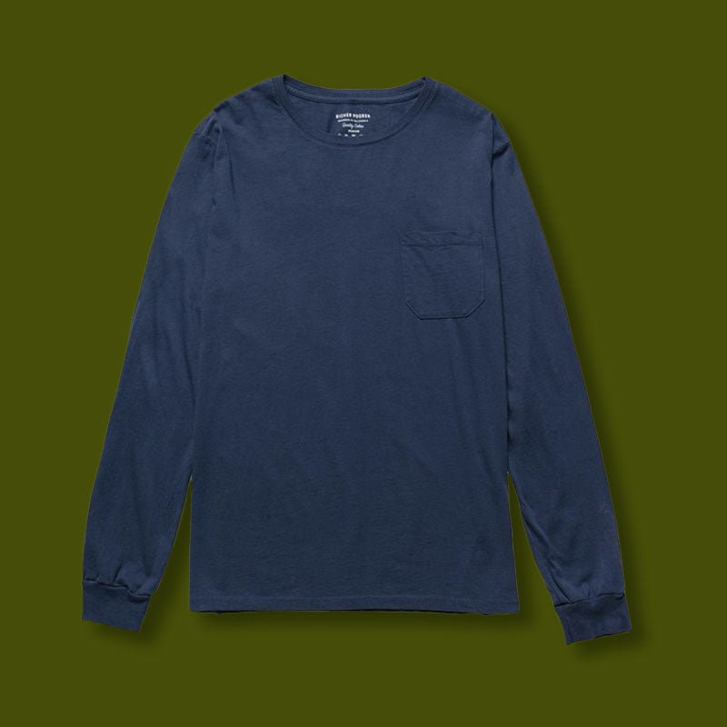 Women's Long Sleeve Pocket Tee - Navy