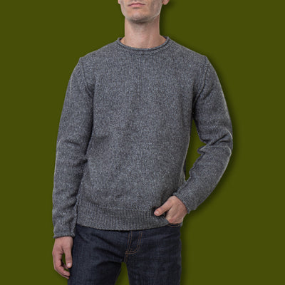 Men's Rolled Edge Sweater - Charcoal