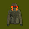 Wool Puffer Jacket - Olive & Orange