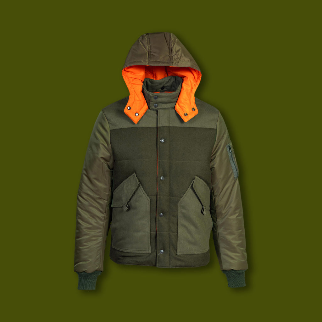 Men's Wool Puffer Jacket - Olive & Orange