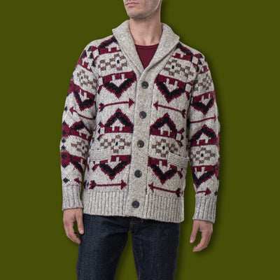 Men's Southwestern Motiff Cardigan Sweater