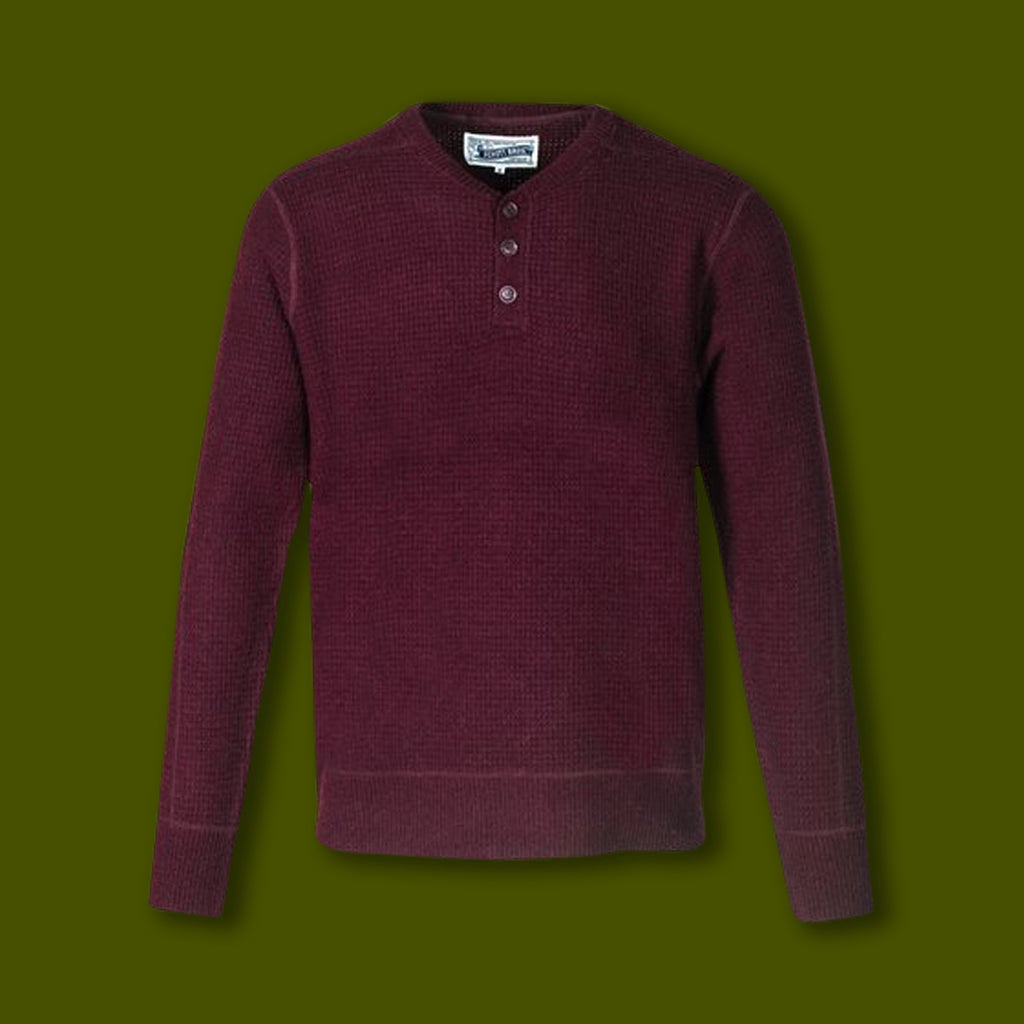 3 Button Henley - Burgundy